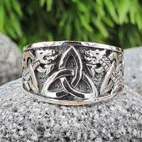 Keltischer Knoten Ring verziert mit der Midgardschlange aus 925 Sterling Silber