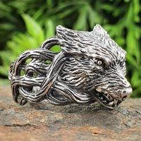 Fenriswolf Ring verziert mit keltische Knoten aus 925...