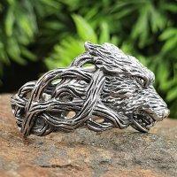 Fenriswolf Ring verziert mit keltische Knoten aus 925 Sterling Silber