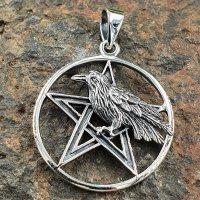 Rabe auf Pentagramm Schmuckanhänger...