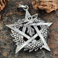 Drachen Anhänger mit Pentagramm aus 925 Sterling Silber