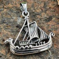 Wikinger Schiff Schmuckanhänger aus 925 Sterling Silber