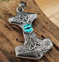 Thors Hammer Anhänger mit Triskele und blaue Augen -...
