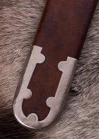 Vendelzeit-Schwert mit Scheide, Messingheft, verzinnt, Damaststahl