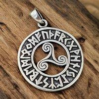 Triskele umrandet mit Runen Anhänger aus 925...