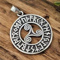 Triskele umrandet mit Runen Anhänger aus 925 Sterling Silber
