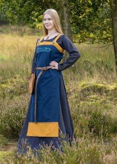 Wikinger Trägerkleid / Schürzenkleid Hilja mit Stickerei, blau