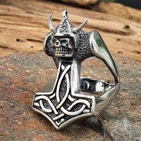 "Thors Hammer Ring ""JARL"" aus Edelstahl"