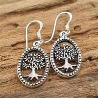 Lebensbaum Ohrring aus 925 Sterling Silber