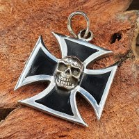Totenkopf Kreuz Anhänger aus 925 Sterling Silber