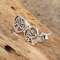 Herz umrandeter Lebensbaum Ohrring  aus 925 Sterling Silber