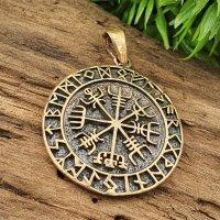 Vegvisir umrandet mit Runen Anhänger aus Bronze