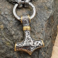 Massive Edelstahl Halskette Thors Hammer mit Fenris Wolf-...