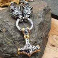 Massive Edelstahl Halskette Thors Hammer mit Fenris Wolf...