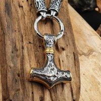 Massive Edelstahl Halskette Thors Hammer mit Futhark...