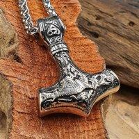 Edelstahl Halskette Thors Hammer verziert mit der Midgardschlange und Triquetra - 60 cm