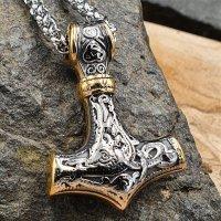 Edelstahl Halskette Thors Hammer verziert mit der Midgardschlange und Triquetra - Silber Gold - 60 cm