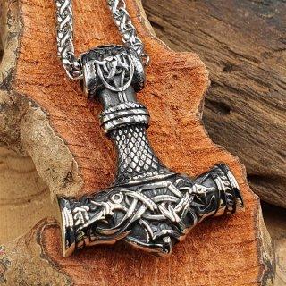 Edelstahl Wikinger Halskette Thors Hammer verziert mit der Midgardschlange - 60 cm