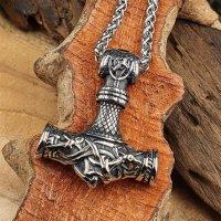 Edelstahl Wikinger Halskette Thors Hammer verziert mit...