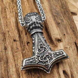 """Edelstahl Halskette Thors Hammer """"ULFHILD"""" verziert mit Odin - 60 cm"""