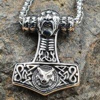 Edelstahl Halskette Thors Hammer mit Odin & Fenris...