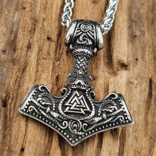 Edelstahl Halskette Thors Hammer verzier mit Valknut und der Tyr Rune - 60 cm