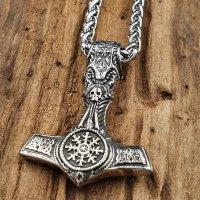"""Wikinger Edelstahl Halskette Thors Hammer """"YRSA"""" mit Totenkopf und Helm of Awe - 60 cm"""