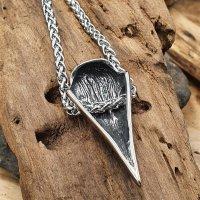 Edelstahl Wikinger Halskette Rabenschädel Anhänger verziert mit dem Helm of Awe - 60 cm
