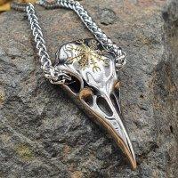 Edelstahl Wikinger Halskette Rabenschädel Anhänger verziert mit dem Helm of Awe goldfarbig - 60 cm