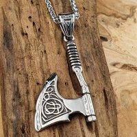 Edelstahl Halskette mit Axt Anhänger verziert mit...