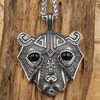 Edelstahl Wikinger Halskette mit einem Bär...