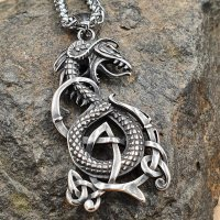 Edelstahl Halskette mit dem nordischen Drachen...