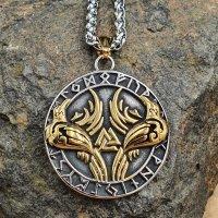 Edelstahl Halskette Hugin & Munin im Runenkreis - Gold- und Silberfarben  - 60 cm