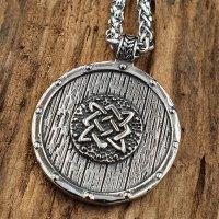 Edelstahl Halskette Wikingerschild mit Keltischen Knoten...