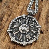 Edelstahl Halskette Wikinger Schild verziert mit einem...