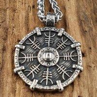 Edelstahl Halskette Wikinger Schild verziert mit einem Helm of Awe - 60 cm